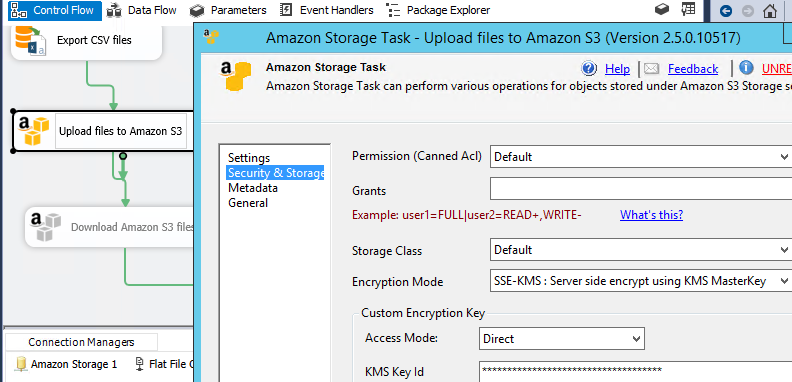 How to use KMS Encryption (Server side) in SSIS S3 Task