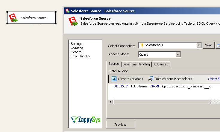 SSIS Salesforce Destination - Update / Insert with Lookup