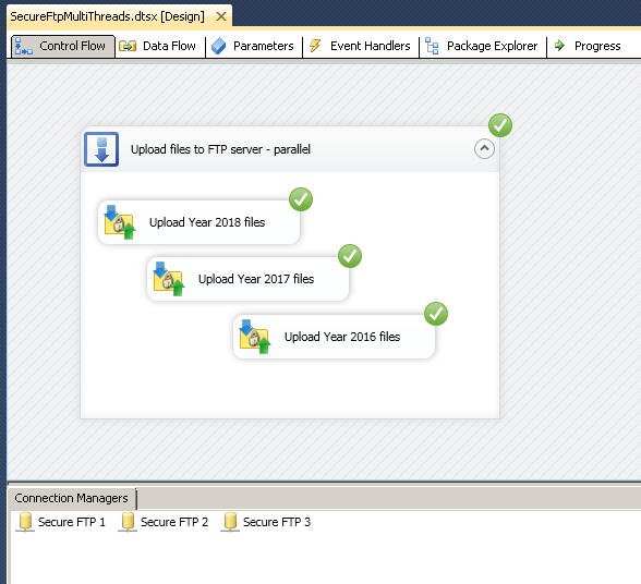How to upload / download files to FTP in parallel using SSIS