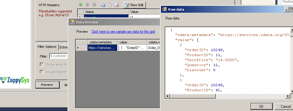 How to see raw JSON coming from response in SSIS JSON Source