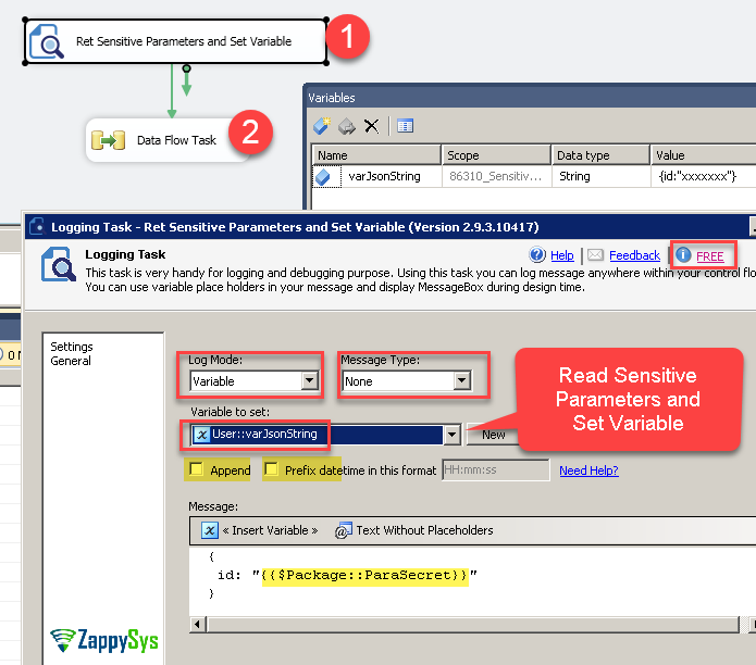 Reading Sensitive Parameters in SSIS Data flow – ZappySys